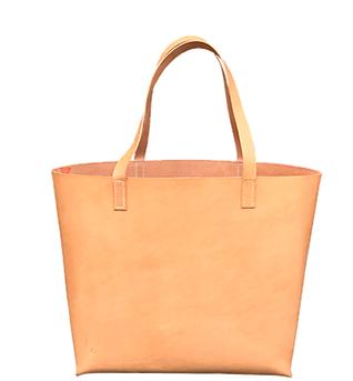 Shopper DELUXE i Natur vegetabilsk garvet kernelæder