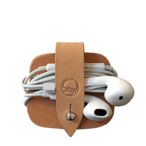 Headphone case Natur vegetabilsk garvet kernelæder