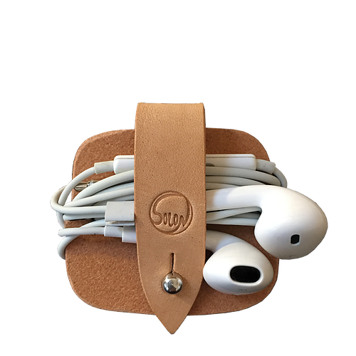 Headphone case Natur vegetabilsk garvet kernelæder