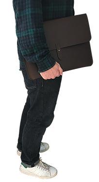 "Macbook sleeve 13"" mørkebrunt kernelæder"