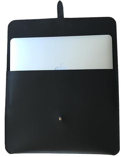 """Macbook sleeve 13"""" sort kernelæder"""