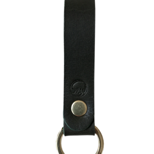 Nøglering i kernelæder sort